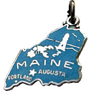 WELLS Top Hat Sterling Enamel MAINE State Map Charm