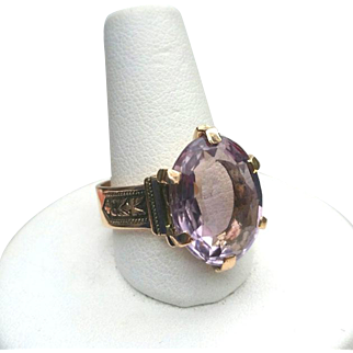 Antique Victorian 14K Rose Gold AMETHYST Ring 4 Carats