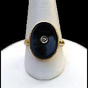 Edwardian 14K Gold Carved Onyx Diamond Ring