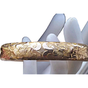 Antique Victorian Engraved Hinged Bangle Rose Gold Shell HR Co