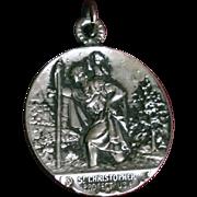 OLD Sterling St. Saint Christopher Medal Antique Automobile