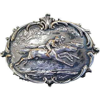 Art Nouveau Repousee Jockey on Horse Racing Pin