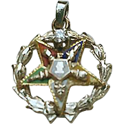 14K Gold DIAMOND Enamel OES Eastern Star Pendant Masonic