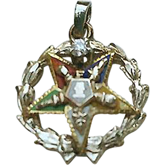 14K Gold DIAMOND Enamel OES Eastern Star Pendant Masonic