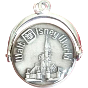 Vintage WALT DISNEY WORLD Castle Silver Spinner Charm