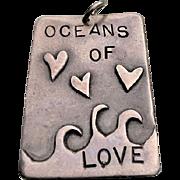 Artist Signed Modernist Sterling OCEANS of LOVE Pendant
