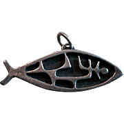 3D Mid Century MODERNIST Sterling Fish Pendant Charm