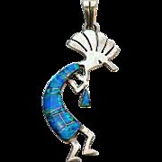 Vintage Native American Silver Inlaid Opal KOKOPELLI Pendant