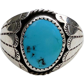 Large Vintage NAVAJO Silver TURQUOISE Ring Signed SC