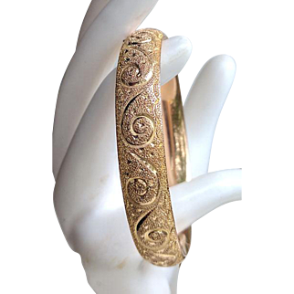 Antique Victorian ROSE Gold Filled Chased Hinged Bangle