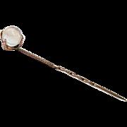 Victorian Rose Gold Talon Gripping MOONSTONE Orb Stickpin Cravat Pin