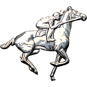 BEAU Sterling Jockey Riding a Horse in a Race Pin