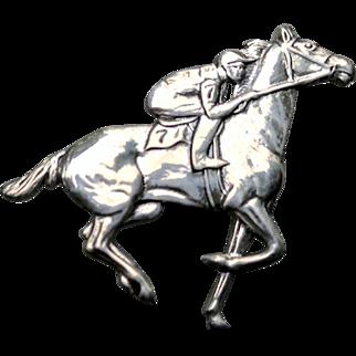 BEAU Sterling Jockey Riding a Horse in a Race Pin