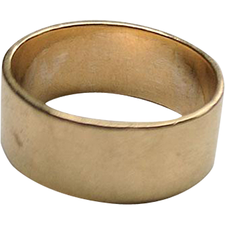 RARE 14K Gold Ed LEVIN Wide Wedding Band Ring 8 1/4