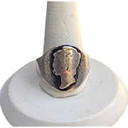 Vintage Mercury HEAD Silver Dime Coin Ring