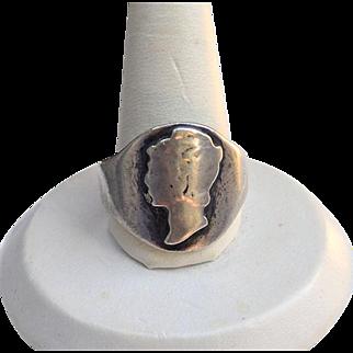 Vintage Mercury HEAD Silver Dime Coin Ring
