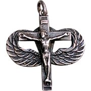 WWII 835 Silver Parachute Jump WINGS Crucifix Religious Pendant