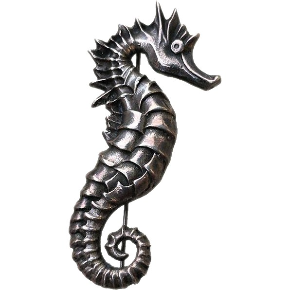BEST Weighty Art Deco Sterling SEAHORSE Pin