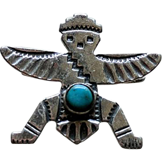 Fred Harvey Era Sterling Turquoise KNIFEWING Pin