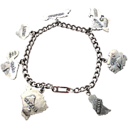 WWII Era Hawaiian Islands Sterling Charm Bracelet - 7 Hawaii Island Charms