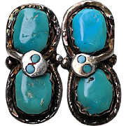 Vintage EFFIE Calavanza Zuni Silver Turquoise SNAKE Pierced Earrings
