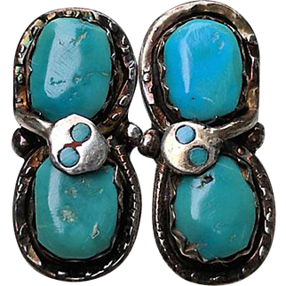 Vintage EFFIE Calavanza Zuni Silver Turquoise SNAKE Pierced Earrings