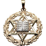 Vintage 14K Yellow White Gold Jewish Star of David Pendant Charm
