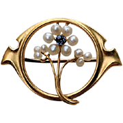 Art Nouveau 10K Gold SAPPHIRE Seed Pearl Flower Pin