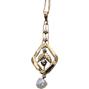 Victorian 10K DIAMOND Pearl Lavaliere Necklace Lavalier