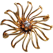 Victorian 10K Gold DIAMOND Starburst Spider Pin Pendant