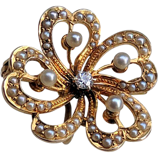 EDWARDIAN 14K Diamond Seed Pearl 4 Leaf Clover Watch Pin Locket
