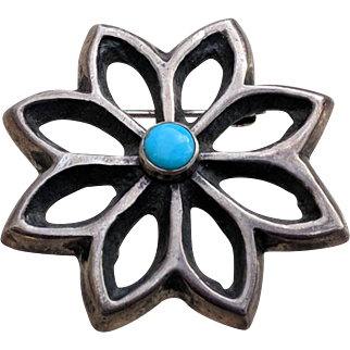 Navajo Sand Cast Silver Turquoise Pin by George Begay