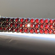 ANTIQUE BRACELET, Bohemian Garnet Rose-Cut  Bangle.