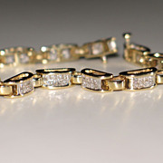 Estate Diamond Tennis Bracelet, Princess-Cut Diamond 14k Yellow Gold.