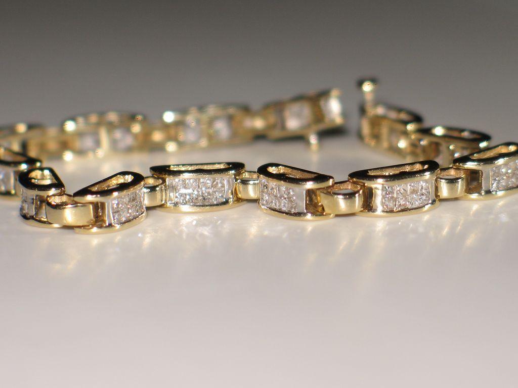 Estate Diamond Tennis Bracelet Princess Cut 14k Yellow Gold Awep Ruby Lane
