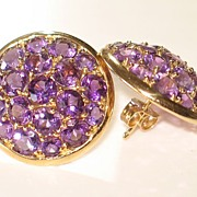 Fun and Fabulous!  Fantastic Amethyst & Gold Earrings 14K.  VERY Sparkly! - Red Tag Sale Item