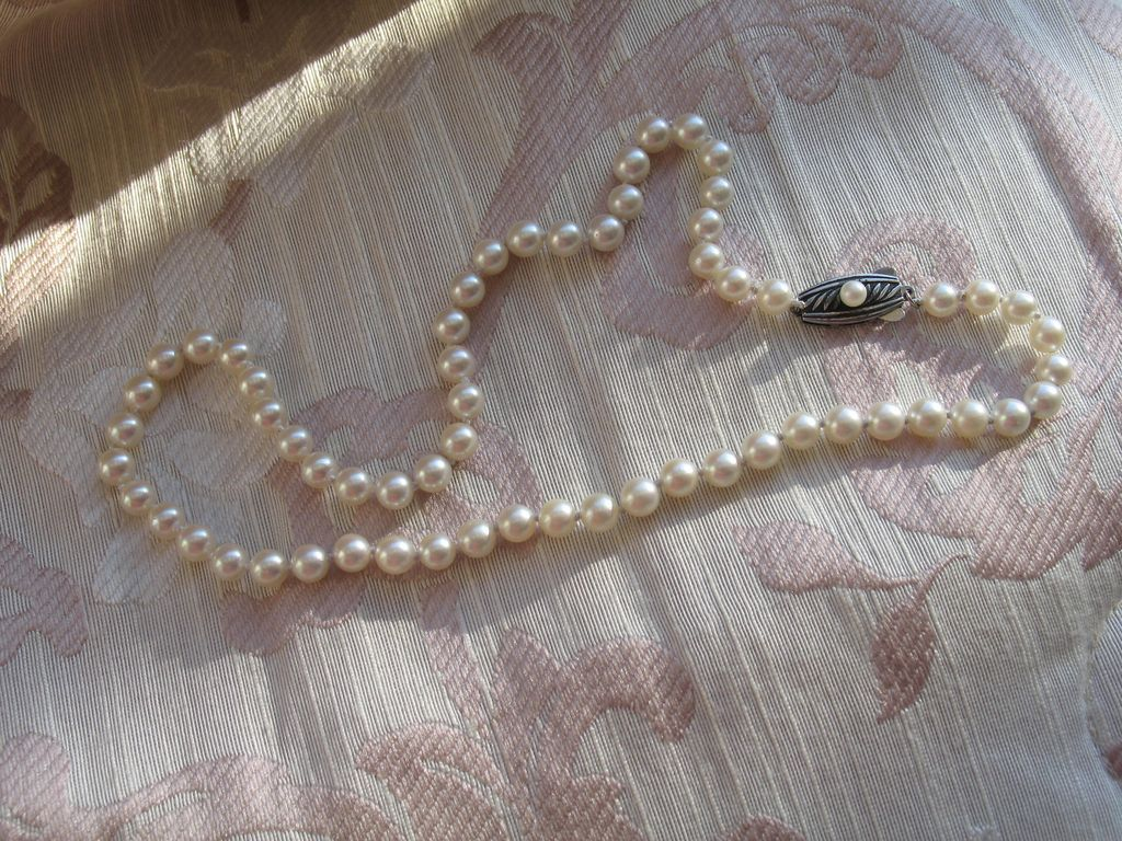 cultured graduated vintage lane item ruby strand mikimoto pearl necklace sold pearls