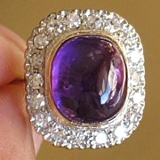 Circa, 1930's.  Stunning Vintage Ring, Diamond, Amethyst, and White Gold 18k.  Cabochon-cut Amethyst.