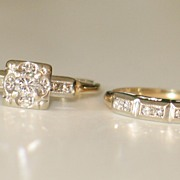 Vintage Diamond Engagement Ring Set in 14k Yellow Gold and Platinum-Top.