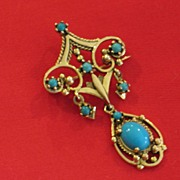 14k Yellow Gold and Natural Turquoise Pin/Pendant.  Vintage Jewelry.