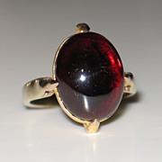 Fantastic Vintage Gold and Garnet Ring.  Red Garnet Cabochon Cut.