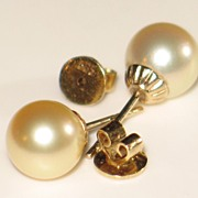 Estate, Golden South Sea Cultured Pearl Earrings and 14k Yellow Gold.  Post/Stud.