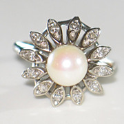 Diamond and Natural Cultured Pearl in 14K White Gold Vintage Ring.