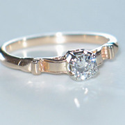 Diamond Engagement Ring.  Antique Rose Gold & Diamond Solitaire.