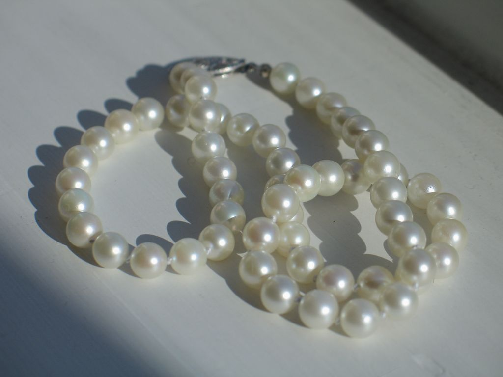 Vintage Cultured Pearl Necklace and 14k White Gold Clasp ...