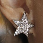 Starry Diamond & White Gold Vintage Earrings.  Pierced.