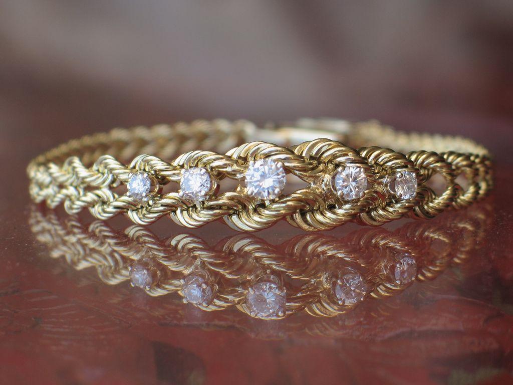 Estate Vintage 14k Yellow Gold Diamond Bracelet From