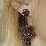 Antique Bohemian Garnet Earrings.