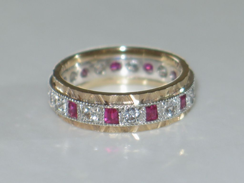 antique eternity band ring in 9ct gold rubies and white