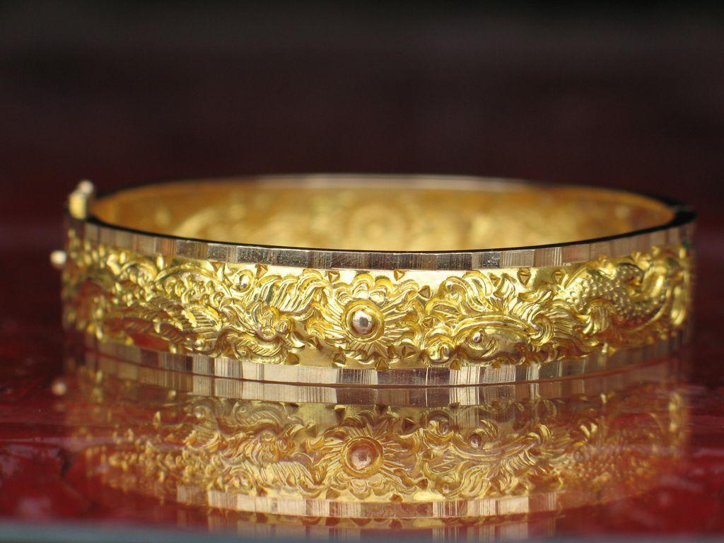 Estate Golden Dragon And Phoenix Bracelet 18k Gold Bangle Awep Ruby Lane
